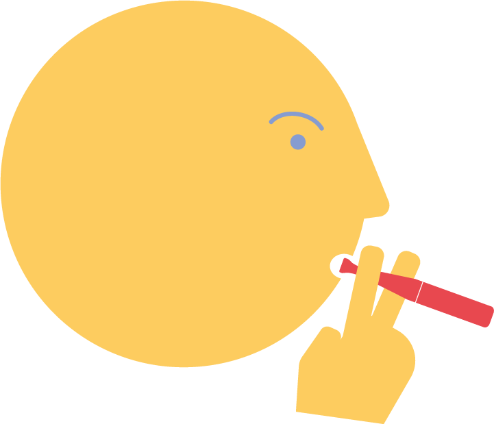 illustration of a person using an inhalator