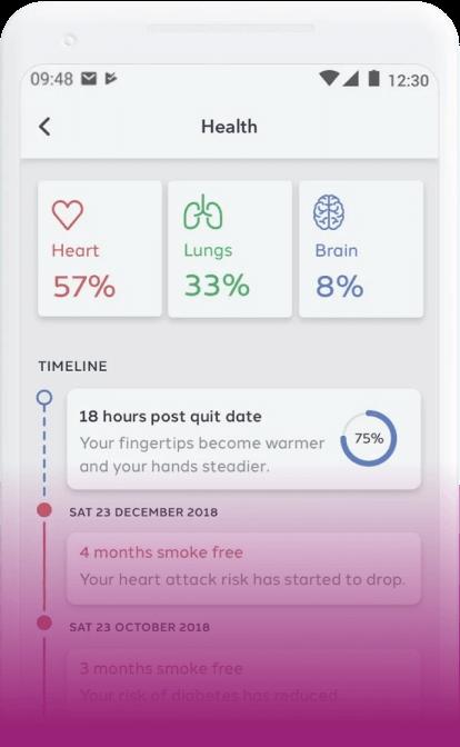 screenshot of the Quit Genius app on a smartphone